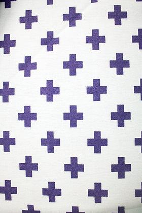 Tricoline Caldeira - Estampa Cruz Roxo com Fundo Branco