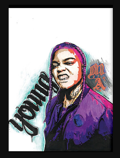 YOUNG MA By Nique® Original Handpainted Mixed Art On Paper 29.7 x 42.0 Cm