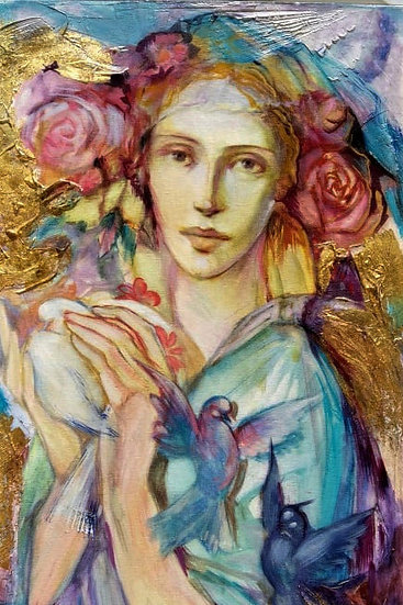 Girl In Gold By Orlik® Original HAndpainted Mixed Art on Canvas 40 X 80