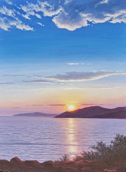 Sunset at Vouliagmeni by Xazaridis Original Handpainted Oil On Canvas 60 X 80