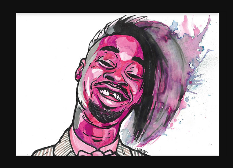 Danny Brown By Nique® Original Handpainted Mixed Art On Paper 29.7 x 42.0 Cm
