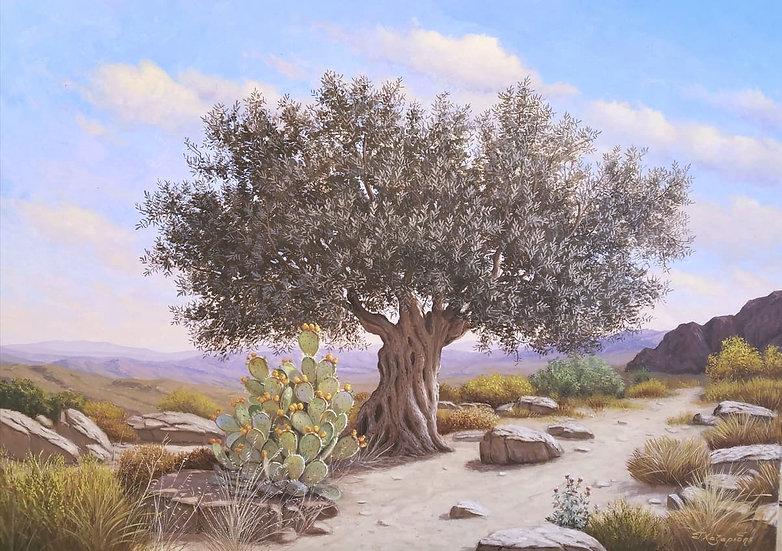 Olive Tree By Xazaridis® Original HandPainted Mixed Art on Canvas  70 X 100