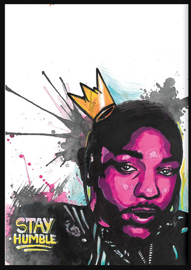 Kendrick Lamar By Nique® Original Handpainted Mixed Art On Paper 29.7 x 42.0 Cm