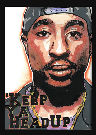 2PAC By Nique® Original Handpainted Mixed Art On Paper 29.7 x 42.0 Cm