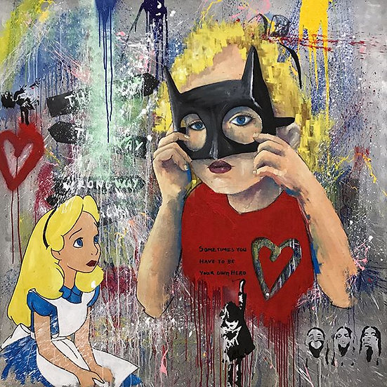 Super Alice By M.Koan® Original Handpainted Mixed Art  on Canvas