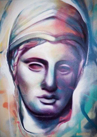 Goddess Athena  By Achilles® Original Hand painted Spray On Canvas 100 X1 40