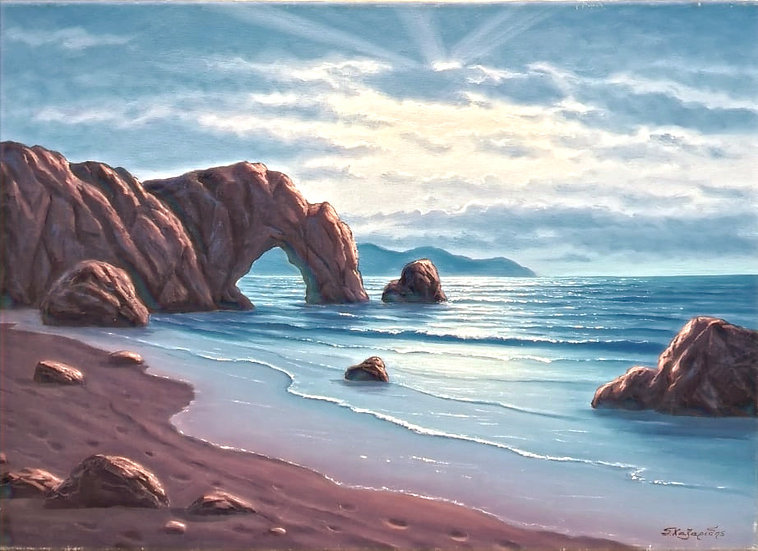 Chilling At The Beach  By Xazaridis® Original Handpainted Oil On Canvas 50 X 70