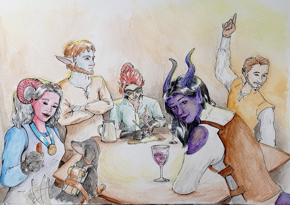 An adventuring party sits around a table enjoying drinks and rest.