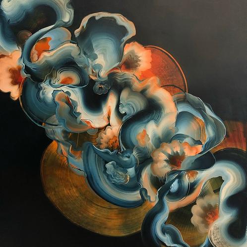 "Smoke - Oil on canvas (100x100cm) 39"" square"