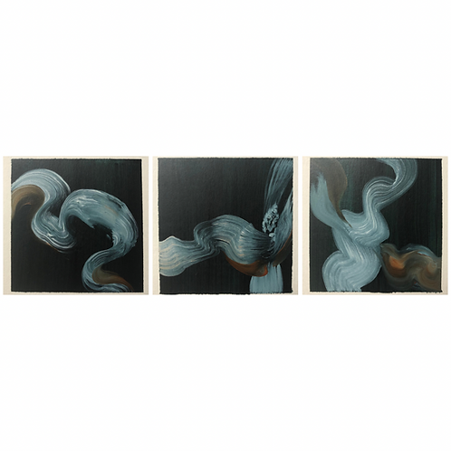 Simple Movement Triptych  -oil on paper