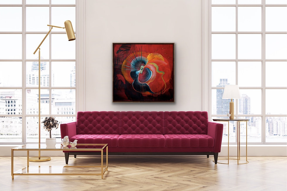 Big Red Abstract painting - Big Wild Love by Genevieve Leavold in a room with a red sofa
