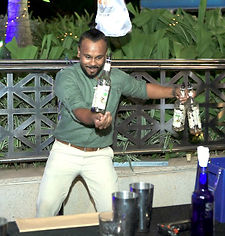 Mixologist Binoy Perera shows off his sk