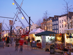 Cork city street market at dusk