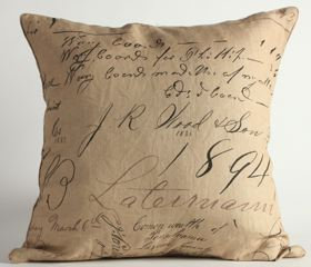 Brown Script Fabric Euro Pillow Cover
