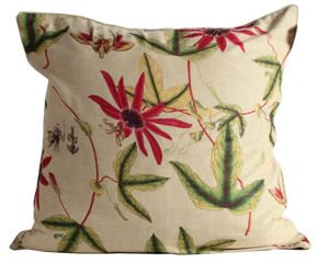Pink Passion Flower Fabric Euro Pillow Cover