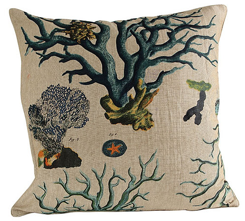 Blue Coral Fabric Euro Pillow Cover
