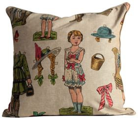 Paper Dolls Fabric Euro Pillow Cover