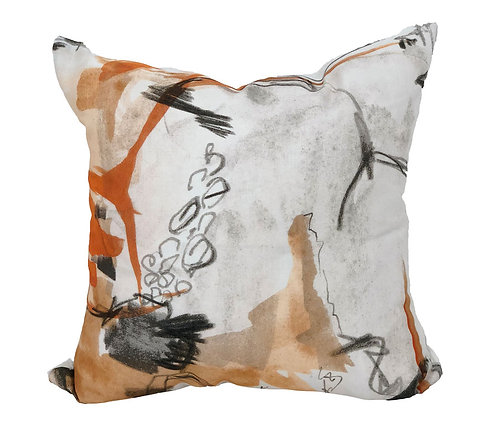 Orange and Grey abstract pillow