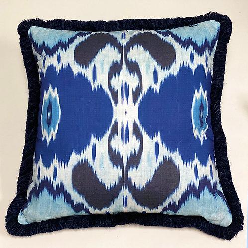 Chabahar Cyan with indigo trim Pillow