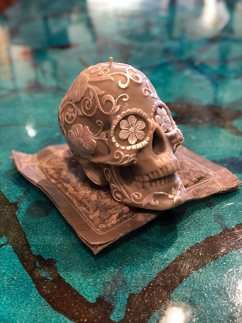Small Hand Carved Skull Candles