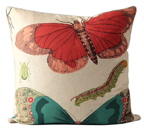 Bugs And Butterflies Fabric Euro Pillow Cover