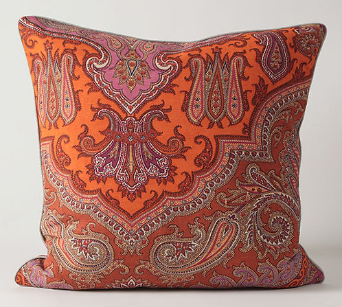 Spice Paisley Fabric Euro Pillow Cover