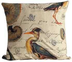 Blue Heron and Shells Fabric Euro Pillow Cover