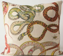 Colorful Snakes Fabric Euro Pillow Cover