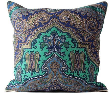 Indigo Paisley Fabric Euro Pillow Cover
