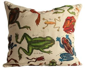 Colorful Frogs Fabric Euro Pillow Cover