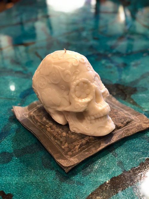 Large Hand Carved Skull Candles