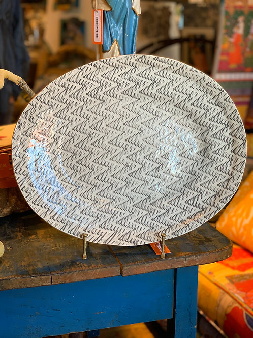 OVAL PLATTER CHEVRON CHARCOAL
