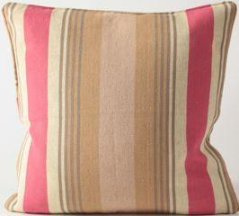 Raspberry Camel Stripe Jute Fabric Euro Pillow Cover