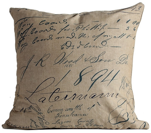 Blue Script Fabric Euro Pillow Cover