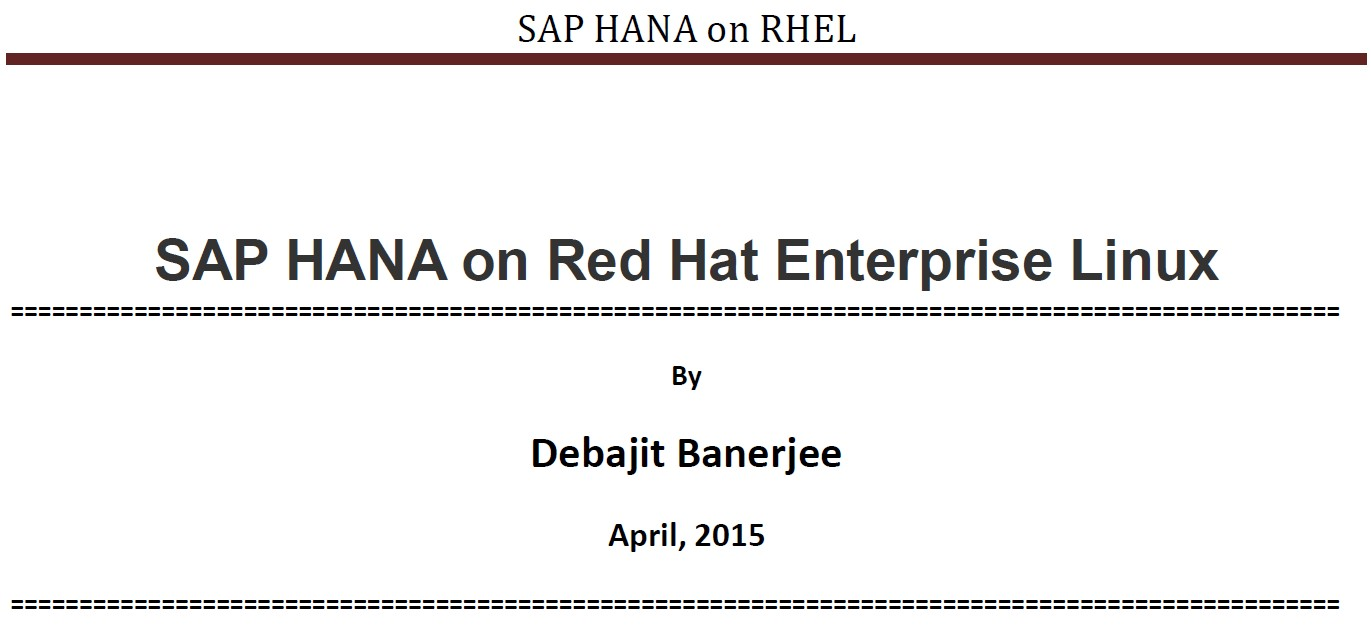 SAP HANA Blog