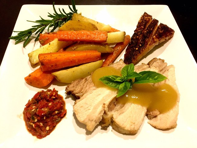 BASTED PALEO ROAST PORK BELLY WITH ROAST VEGETABLES