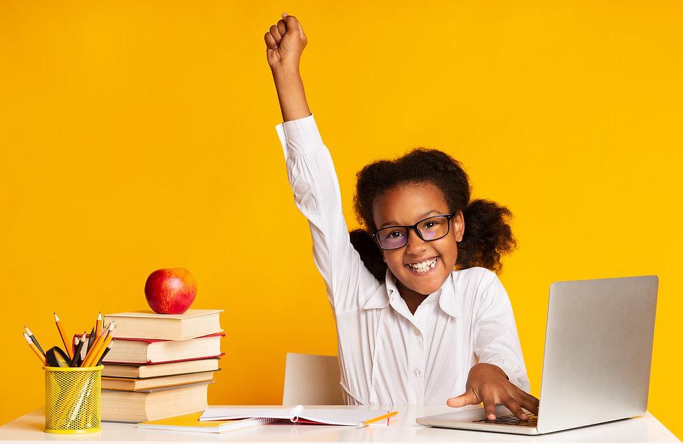 Black Elementary Student Girl Raising Ha