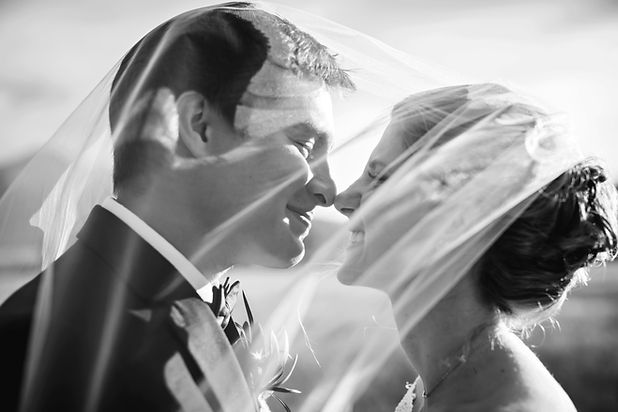 Newlywed Couple Noses Kissing Married