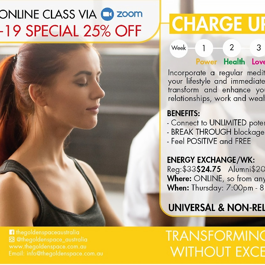 Charge Up! weekly online via Zoom