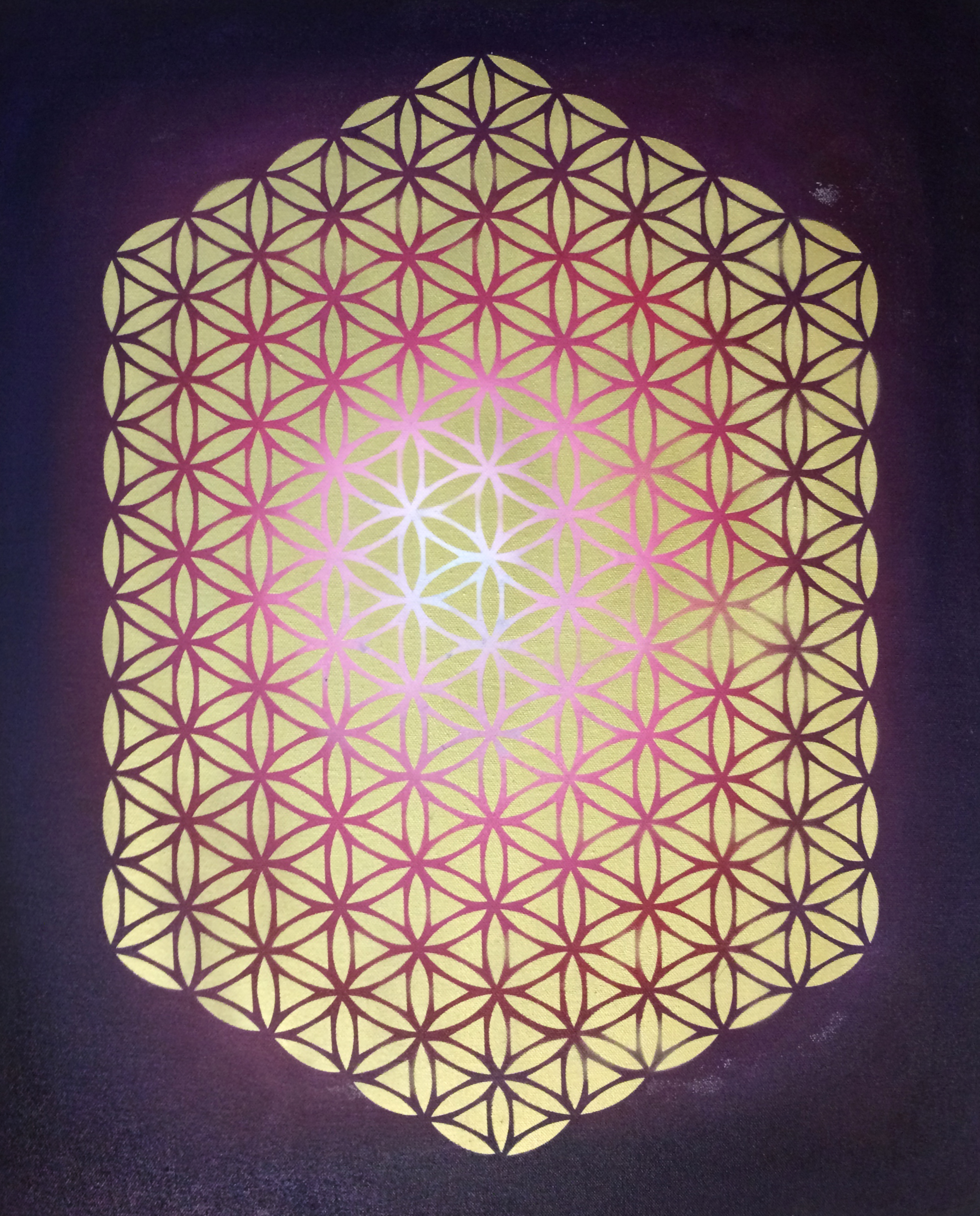 Large Geometric ower - Pink and purple
