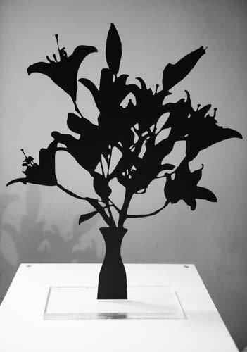 White Asian Lilies, 2018, Black Matte Acrylic