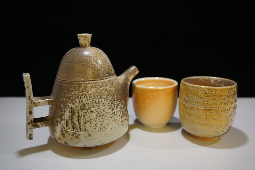 Tea Set, 2019, Wood-Fired White Clay Pottery