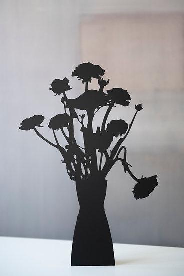 Red Ranunculus, 2019, Black matte acrylic