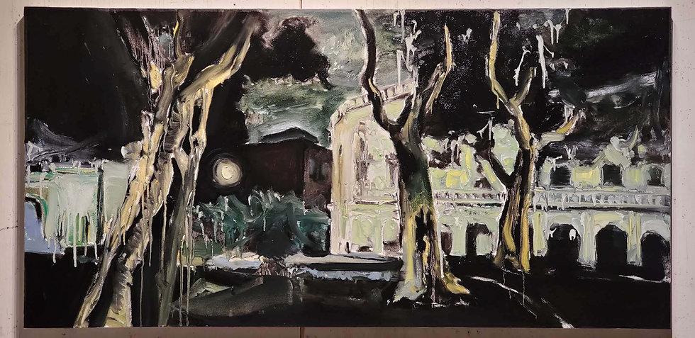 Park, Night, Havana, 2020, Oil on Canvas