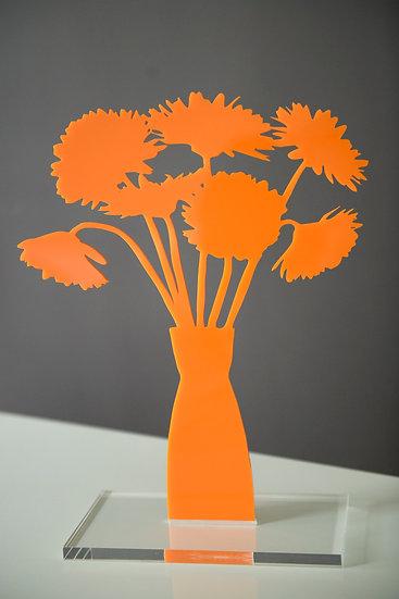 Gerberas in Orange, 2019, Orange Opaque Acrylic
