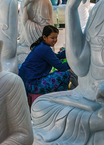 Polishing the Buddha Sculptures, 2015,  Photograph