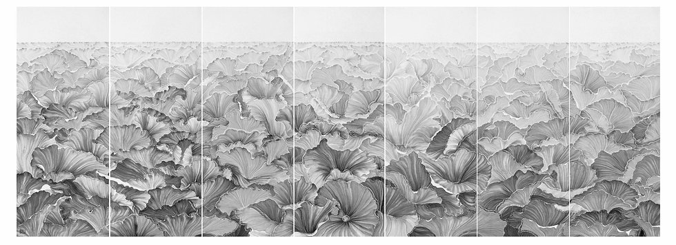 The Prosperous Water Lily,2018, Ink and water on paper in seven panels