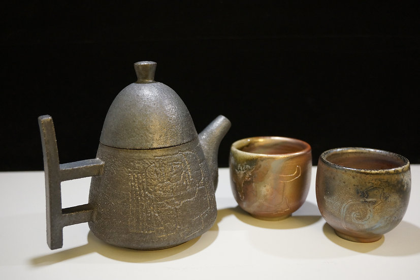 Tea Set, 2019, Wood-Fired Black Clay Pottery