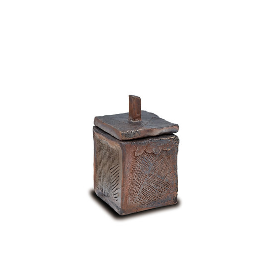Square Jar, 2018, Wood-Fired Pottery