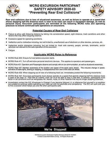 WCRG Excursion Particiant Safety Advisor